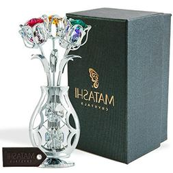 Matashi Chrome Plated Flowers Bouquet and Vase w/Colorful Cr