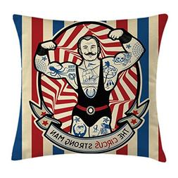 Ambesonne Circus Throw Pillow Cushion Cover, Nostalgic Icon
