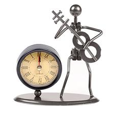 Classic Vintage Old Fashion Iron Art Musician Clock Figure O