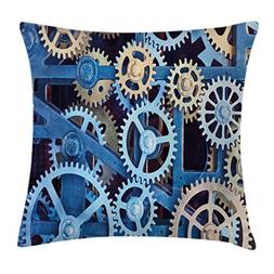 Ambesonne Clock Throw Pillow Cushion Cover, Technology Clock