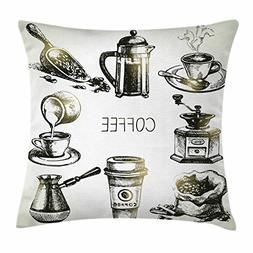 Ambesonne Coffee Throw Pillow Cushion Cover, Brewing Equipme