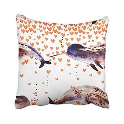 Emvency Colorful Animals Narwhal Watercolor Cartoon White Gr