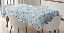 Colorful Doodle Tablecloth Ambesonne 3 Sizes Rectangular Tab