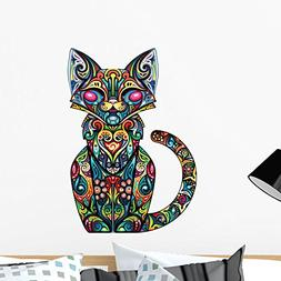 Wallmonkeys Colorful Fancy Cat Wall Decal Peel and Stick Gra