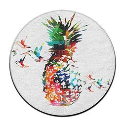Colorful Pineapple Round Carpet Area Floor Rug Entrance Entr