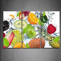 Colorful Various Fruit With Splash Water Wall Art Painting T