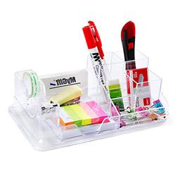 Compact 7 Compartment Clear Office Desktop Supply Organizer