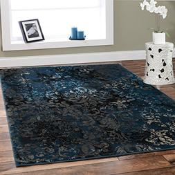 Premium Contemporary Rugs For Living Room Luxury 5x8 Navy Bl