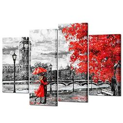 Kreative Arts - 4pcs Contemporary Wall Art Black White and R