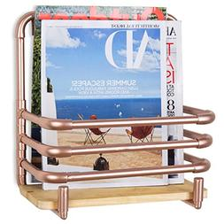MyGift Copper-Tone Metal Pipe Wall-Mounted Magazine Shelf wi