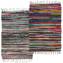 Simply Living (2 Pack Cotton Rag Chindi Rug Multi-Color Wove