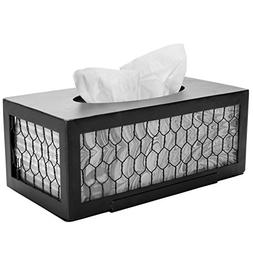 MyGift Country Rustic Chicken Wire Facial Tissue Box Cover,