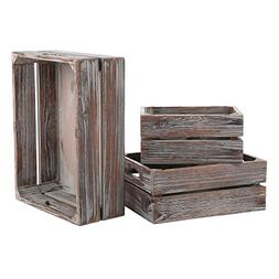 MyGift Set of 3 Country Rustic Finish Brown Wood Nesting Box