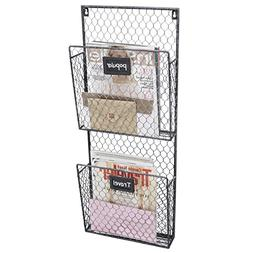 Country Rustic Gray 2 Tier Wall Storage Baskets / Magazine R
