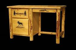 Country Student Desk - Rustic Western Cabin Log Wood Office