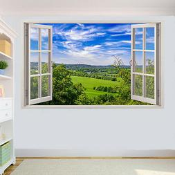 COUNTRYSIDE FIELDS SCENERY WALL STICKERS 3D ART MURAL ROOM O
