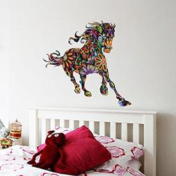 BIBITIME Creative Impetuous Running Flower Horse Wall Art St