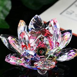 LiPing 2.3in Crystal Lotus Collectible Figurines Paperweight