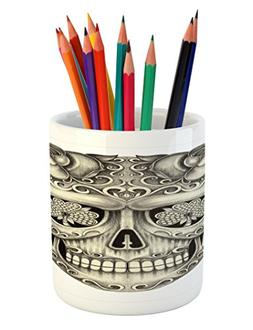 Ambesonne Day Of The Dead Pencil Pen Holder, Spanish Sugar S