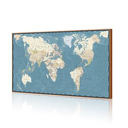 Visual Art Decor Xlarge Blue Vintage World Map Canvas Prints
