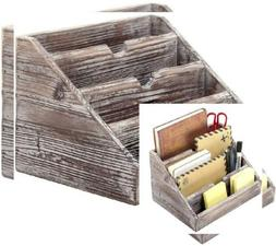 MyGift Decorative 4 Compartment Vintage Brown Torched Wood F