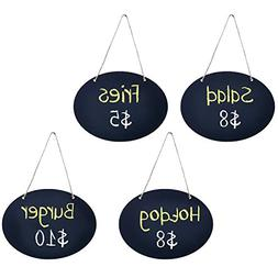 MyGift Set of 4 Decorative Black Wood Erasable Chalkboard Ha