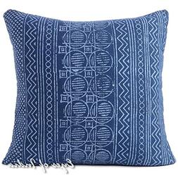 "Eyes of India - 24"" Indigo Blue Decorative Pillow Block Prin"