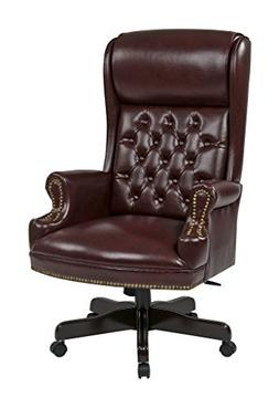 Office Star Deluxe High Back Traditional Executive Chair wit