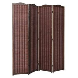 Deluxe Brown Natural Woven Design Bamboo 4 Panel Folding Roo