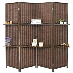 MyGift Deluxe Woven Brown Bamboo 4 Panel Folding Room Divide