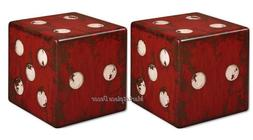 Uttermost Dice Accent Table in Burnt Red
