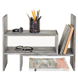distressed gray wood adjustable desktop