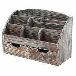 MyGift Distressed Wood Desk Organizer, 6 Compartment 2 Drawe