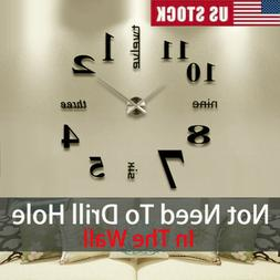 DIY Large Wall Clock 3D Mirror Surface Sticker Home Office R