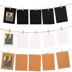 GooGou DIY Paper Photo Frame Wall Deco with Mini Clothespins