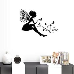 BIBITIME DIY Silhouette Black Butterfly Fairy Wall Decal Vin