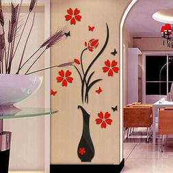 DIY Vase Flower Tree Crystal Arcylic 3D Wall Stickers Decal