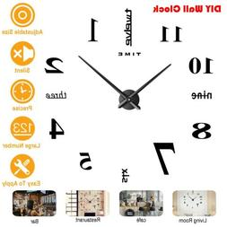 DIY Wall Clock Big Watch 3D Acrylic Art Stickers Decals Mode
