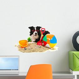 Wallmonkeys Dog on Vacation Wall Decal Peel and Stick Graphi
