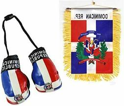 Dominican Rep. Mini Flag WITH Boxing Gloves Car Rear-View Mi