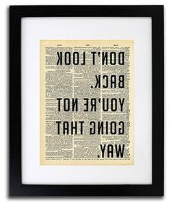 Don't Look Back Quote Dictionary Art Print - Vintage Diction