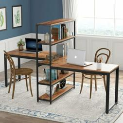 Double Computer Working Desk with Bookshelf for Two Person 9