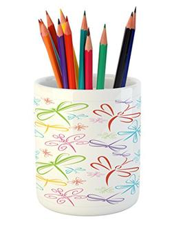 Ambesonne Dragonfly Pencil Pen Holder, Cute Insects Winged F