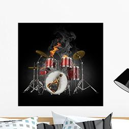 Wallmonkeys Drums in Fire Wall Decal Peel and Stick Graphic