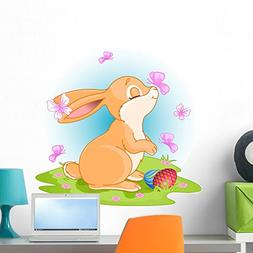 Wallmonkeys Easter Bunny Wall Decal Peel and Stick Graphic W