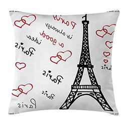 Ambesonne Eiffel Tower Decor Throw Pillow Cushion Cover, Eif