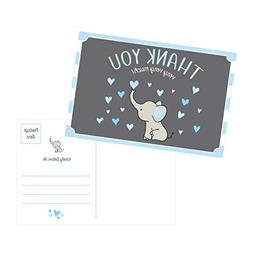 50 4x6 Elephant Boy Baby Shower Thank You Postcards Bulk, Be