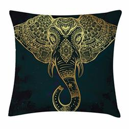 Ambesonne Elephant Mandala Throw Pillow Cushion Cover by, Et