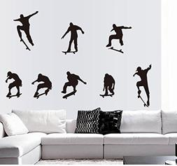 BIBITIME Enjoy Skateboarding Boys Silhouette Sticker Sport F