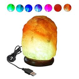 ESOW USB Salt Lamp Mini with Wooden Base Multi Color Changin